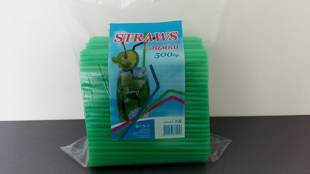 Зелени прави сламки 500 броя
